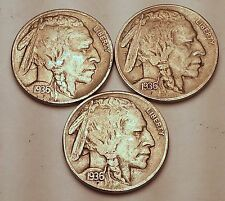3 Piece Lot 1936 P D S Buffalo Nickel Set Nice Vf+ Free Shipping!