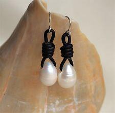 White Drop Pearls on Leather Dangling Earrings Fashion Handmade Yevga 1.5''