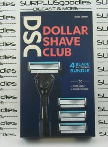 DSC DOLLAR SHAVE CLUB Razor 4-Blade Bundle NEW 1 Handle & 4 Cartridges
