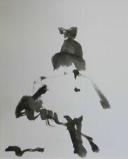 "JOSE TRUJILLO - Black INK WASH on Paper Collectible 14x17"" Dancer Silhouette"