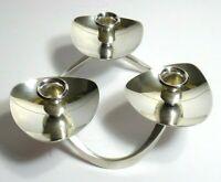 """Lunt Silver Plate Candle Holder M-61, Modernist 1/2""""dia Triple Candleholder VTG."""