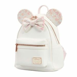 Loungefly Minnie Mouse WHITE IRIDESCENT SEQUINS Holographic Mini Backpack NEW!