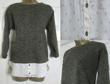 NEW M&S Womens Mock Layered Shirt Jumper Top 3/4 Sleeve Khaki Cream Size 8-24