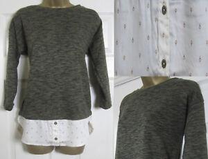 NEW M&S Womens Mock Layered Shirt Jumper Top 3/4 Sleeve Khaki Cream Size 8-24