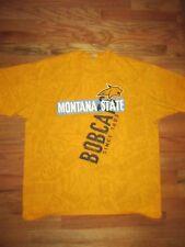 Anvil Montana State Bobcats Yellow Cotton Pre-shrunk T-Shirt Men's XL Q48