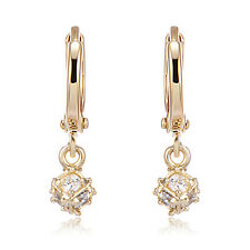 Dangle Crystal Yellow Gold Filled Huggie Hoop Earrings Lot Vintage Jewerly