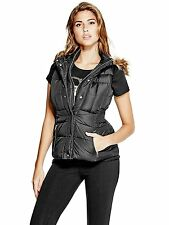 GUESS Vest Women's Hooded Puffer Vest Jacket w- Faux Fur Trim S Black NWT