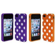 Purple + Orange White Polka Dot TPU Rubber Skin Case for Apple iPhone 4 4S 4G
