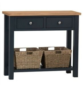 Oak Console Table Blue Painted Hallway Unit Wooden With Baskets*New With Defect*