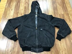 MENS LARGE TALL - Vtg Carhartt Duck Lined Hooded Jacket Made USA