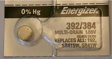 Energizer Watch Battery 392/384 replaces SR41SW, SR41W, V384, V392, and Type `K`