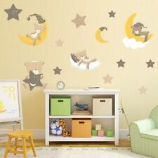 Cute Bear Moon Stars Wall Stickers Kids Room Cartoon Animals Baby Wall Sticker