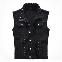 Mens Studded Denim Gilet Sleeveless Biker Jacket Shirt Waistcoat Jeans Punk Cool