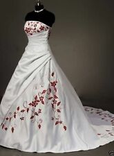 2016 Neu Weiß&Rot Hochzeitskleid Brautkleid Gr 34 36 38 40 42 44