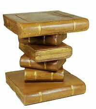 Small Stacked Book Table Stool Side Table Lamp Plant Stand. Gold Edges