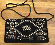 Beautiful Vintage Black Beaded Embroidered Bag Velvet