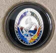 """2014 TOKELAU $2.00, 1 OZ. .999 SILVER ROUND. """"THE YEAR OF THE HORSE"""", ELEMENTS."""