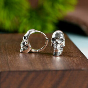 925 Sterling Silver Men's Gothic Biker Skull Skeleton Huggie Hoop Earring A1186