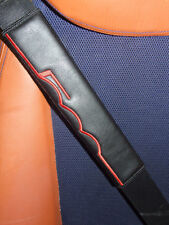 Seat Belt Harness Pads for Fiat 500  Interior, Embroidered Black Leatherette