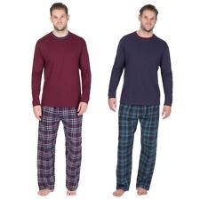 Cargo Bay Men's Jersey Pyjama Set Long Sleeve PJ Top Checked Lightweight Pants