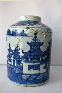 """Antique Chinese Export Blue White Porcelain Tea Caddy Jar 18Th C. Collectibles"""""""