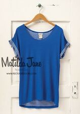 Womens Matilda Jane Hello Lovely blue Stripes Forever Tee Top Size XL X Large