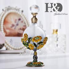 Vintage Perfume Bottle In Metal Holder Sunflower Decor Empty Refillable 8ml Gift
