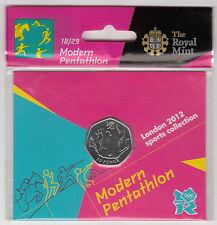 2012 50p OLYMPIC 18/29 MODERN PENTATHLON HANGING BAG BRILLIANTLY UNCIRCULATED @