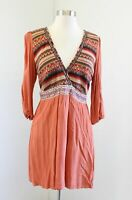 Flying Tomato Orange Aztec Striped Embroidered Tunic / Mini Dress Size L Boho