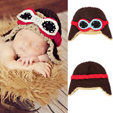 New Handmade Baby Boys Crochet Knit Brown Pilot Beanie Hat Cap Photography Props