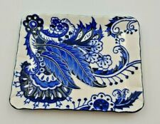 More details for old tupton ware blue & white rectangle decorative plate and stand (tw1267)