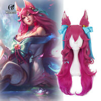 Spirit Blossom Ahri Cosplay Wig LoL Cosplay Long Gradient Pink Wig with Ears