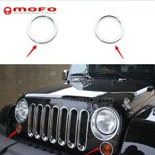 2x ABS Chrome Exterior Driving Turn Signal Light Ring Cover For Jeep JK Wrangler