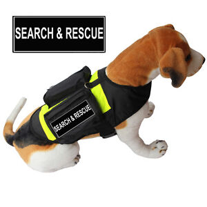 SEARCH & RESCUE SERVICE DOG Vest Harness w/ POCKETS & Side Bags label Patches