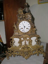 "Antique-French-Bronze-Silk Thread-Mantle Clock-Ca.1850 ""Japy"" To Restore-#N835"