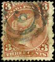 Canada #25 used F 1868 Queen Victoria 3c red Large Queen 2-ring 6 London cancel