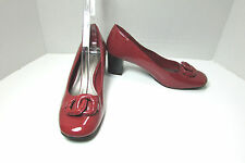 Women's East 5th Patent Brick Red Chunky Med Heel Shoes Size 7.5 M