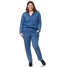 Jumpsuit-Overall-Jeans-overall-Hose--Cotton-Lagenlook  jeansblau Gr. 44-46