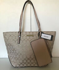 NEW! NINE WEST SOCIETY GIRL GOLD CASHMERE SHOPPER TOTE BAG PURSE w/ WRISTLET $89