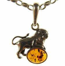 BALTIC AMBER STERLING SILVER 925 LEO ASTROLOGY LION PENDANT CHAIN NECKLACE