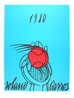 Valerio Adami  Roland Garros Blue lithography  Hand Signed an Numbered 1980