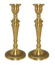 "Candle Holder Antique Gold Brass Embossed Base 4.75""Dia 12""High Pair"