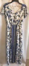 New York & Co. Women Sz 6 White Blue Floral Lined Wispy Sun Dress