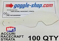 100 qty GOGGLE-SHOP TEAR OFFS for 100% MOTOCROSS GOGGLES ACCURI STRATA RACECRAFT