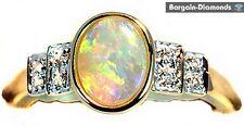 harlequin solid opal diamond engagement 14K gold ring birthstone Australian