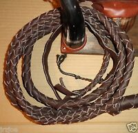 18 foot 4 plait Dark Brown Bullwhip Leather INDIANA Jones Stunt BULL WHIP Whips