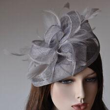 Fascinator on Headband Hair Accessories Wedding Flower Grey Bridal Hat Headdress
