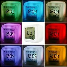 Brand New LED 7 Color Change Glowing Digital Alarm Thermometer Clock Free Post