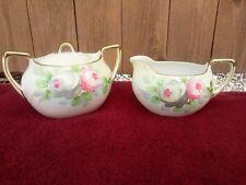 Nippon Sugar Bowl and Creamer Set, Pink Roses