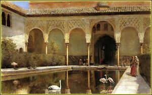 Edwin Lord Weeks : A Court in The Alhambra in The Time of The Moors Art Print